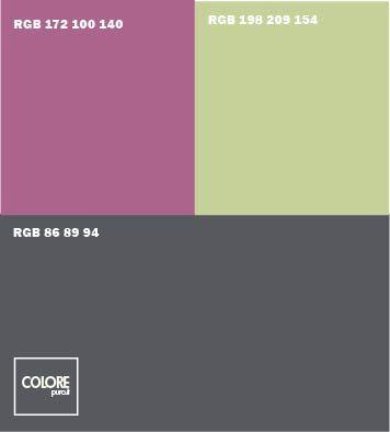 Abbinamento colori grigio scuro viola verde chiaro