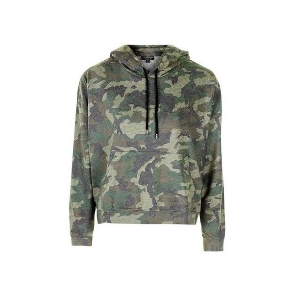 TopShop Petite Camo Print Hoodie ($46) ❤ liked on Polyvore featuring tops, hoodies, khaki, camouflage top, camouflage hooded sweatshirts, petite hoodie, topshop tops and sweatshirt hoodies