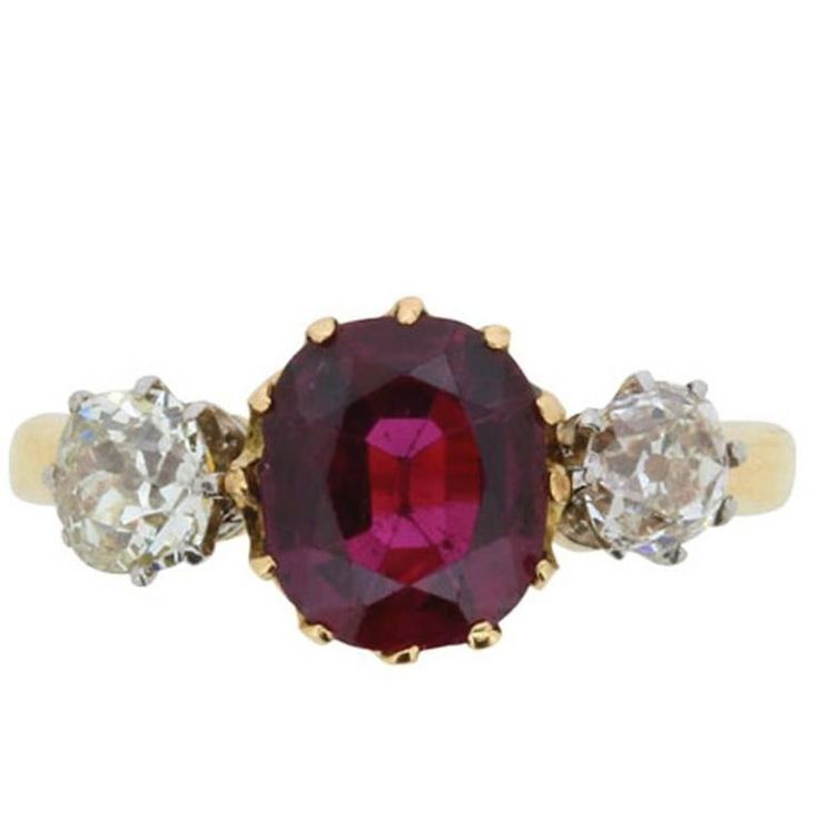 Victorian Ruby and Diamond Three Stone Ring, circa 1880s 1