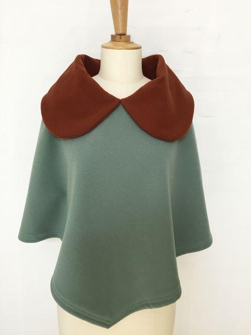 cape femme col croisé noeud laine cachemire liberty mode vintage carreaux hiver couture création british vert olive