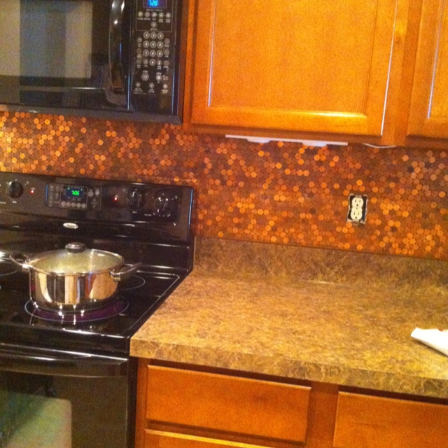 Penny backsplash. Nickels would look cool thrown in there every once in a  while too · Penny BacksplashPenny TileDiy ...