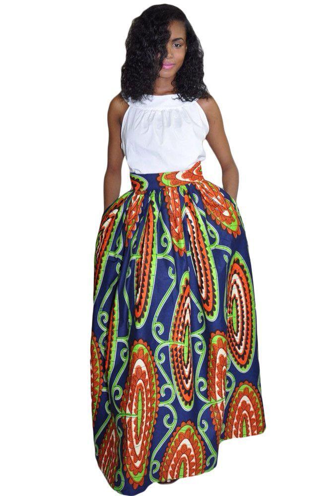 African Print High-Waist Multi-Colorf Full Maxi Skirt