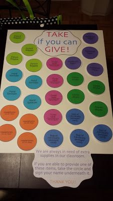 """""""Take if you can give"""" A great way to ask parents for donations on open house night.  Scroll towards bottom of blog to find this"""