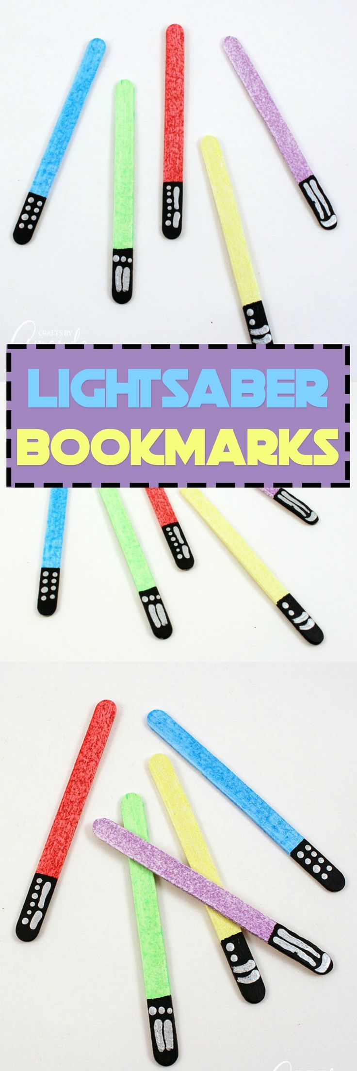 Keep your place in your favorite books by making glittery lightsabers in different colors! These lightsaberbookmarks are great for home or school. #starwars #lightsaber #starwarscrafts