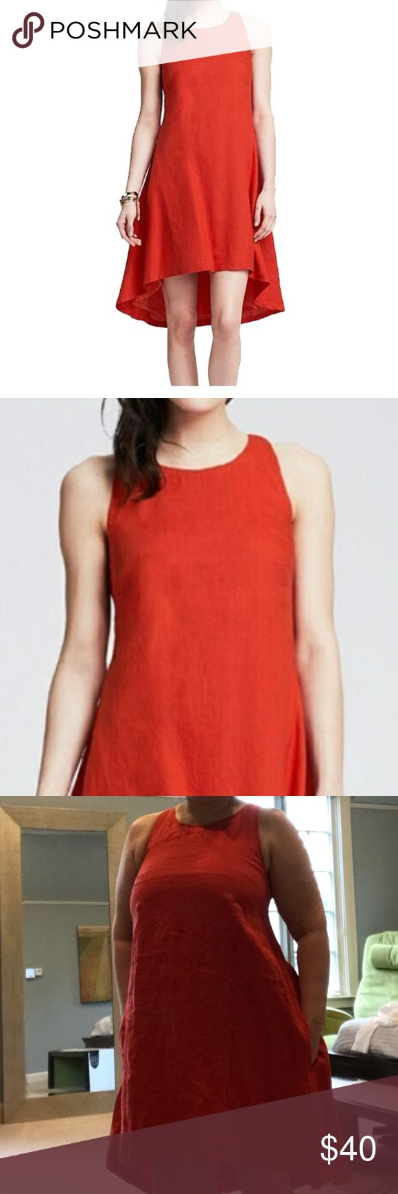NWT Banana Republic linen high-low dress 12 NWT Banana Republic linen high-low dress, size 12. This red-hot dress keeps it fresh with a high-low hemline. Linen Trapeze Dress, $110 at Banana Republic Banana Republic Dresses High Low