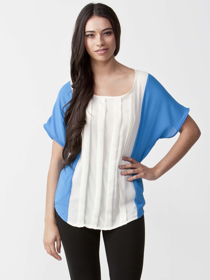 Tamara - Bright Contrast Sweatshirt with round neckline.  Pleated front panel with wide sleeves.  Regular fit design and length. $44.00