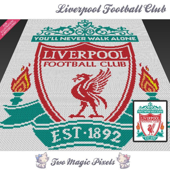 Liverpool Football Club c2c graph crochet pattern; instant PDF download; bed…