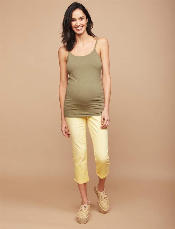 191fb1e694d70 Motherhood Maternity Secret Fit Belly Twill Skinny Leg Maternity Crop Pants