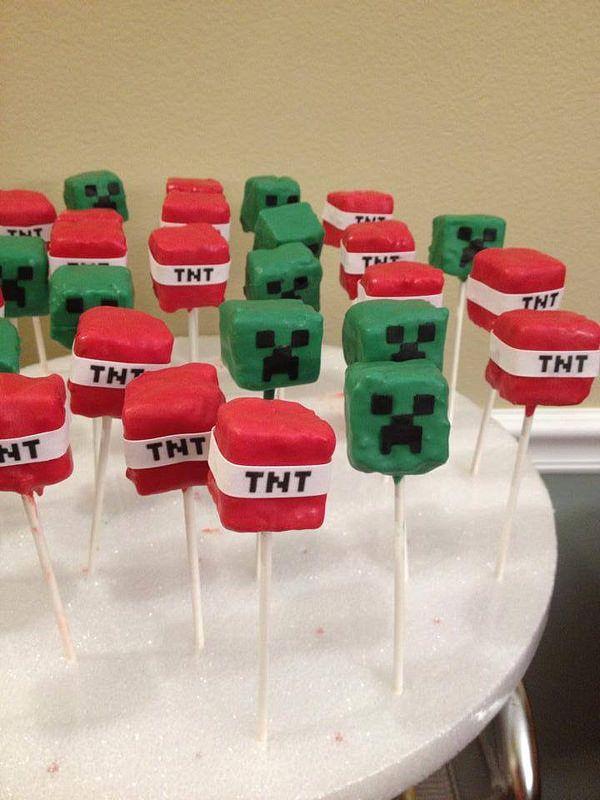 Minecraft tnt cake pops