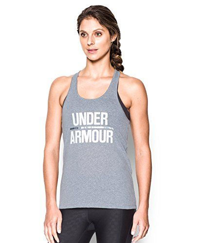 Under Armour Women's Foil Word Mark Tank  Cotton-rich tri-blend fabric has a soft, athletic feel for superior comfort & performance  Signature Moisture Transport System wicks sweat so it dries faster than ordinary cotton  Super-skinny racer back for unrivaled range of motion  Foil UA word mark front graphic