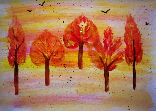 Materiale didactice de 10(zece): Tablou de toamnă - pictură prin imprimare