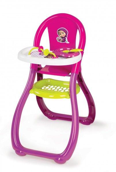 SMOBY 240201 Máša vysoká jedálenská stolička pre 42 cm bábiku s doplnkami od 18 mesiacov