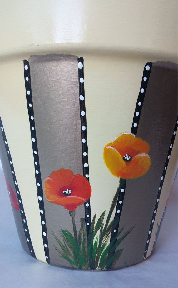 Poppies flower pot hand painted pottery painted pot poppies