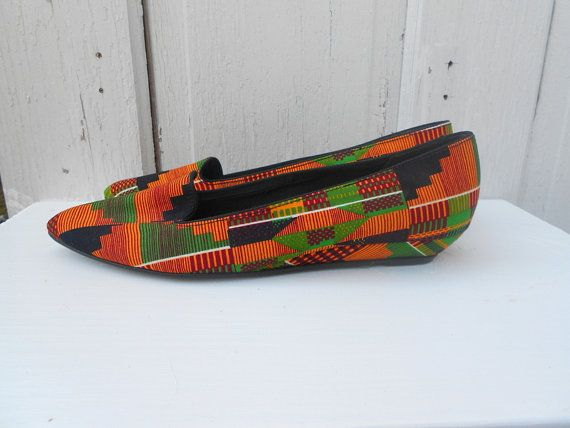 Size 10 Tribal Shoes African Kente Cloth Flats by electricbluebird, $18.00