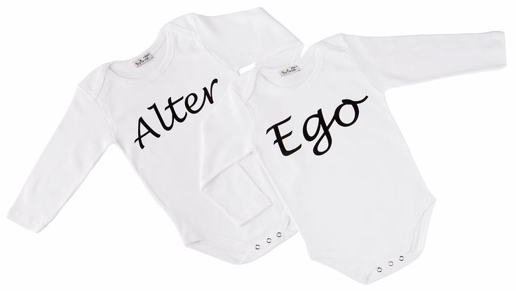 Baby onesies for twins with 'alter ego' print! in mytwins collection!