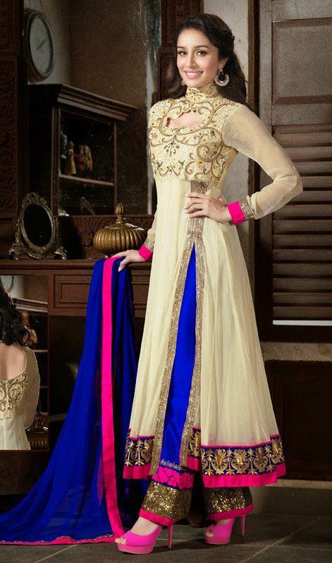 Bollywood Star Shraddha Kapoor Long Length Anarkali Suit #Indiansalwarkameez #Partywear-SalwarSuit