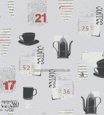 Papel pintado para cocinas con teteras y letras de rasch - Papel pared cocina ...