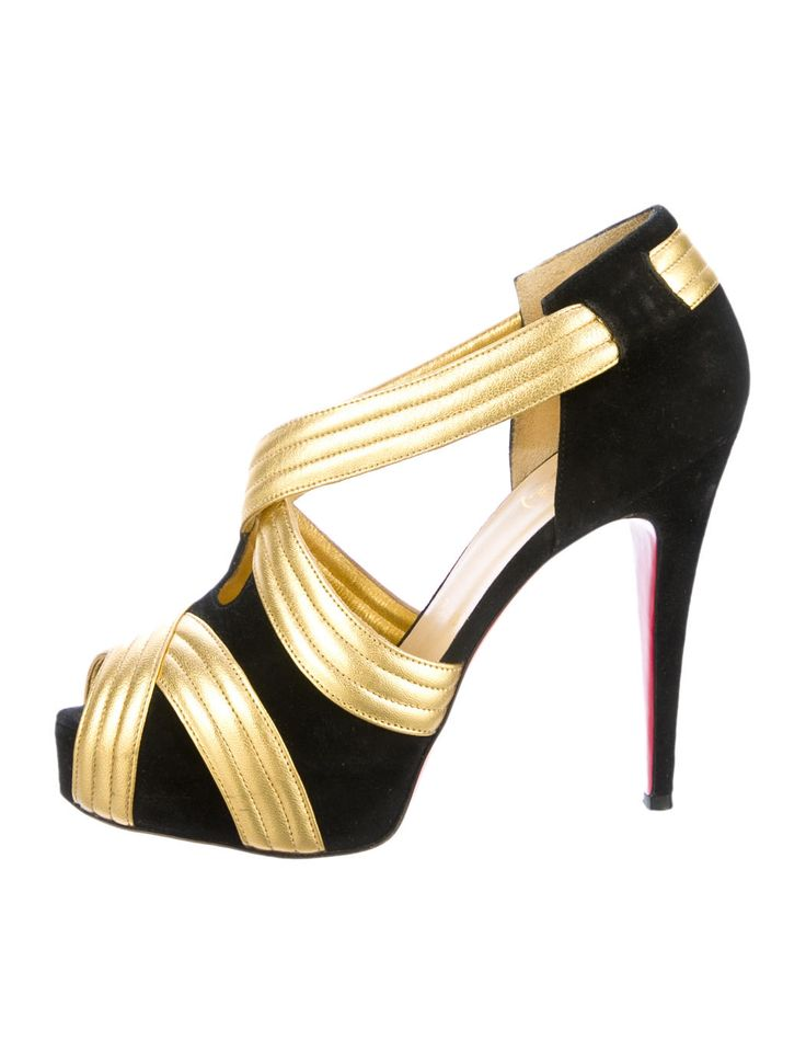 Black suede Christian Louboutin Josefa 120 platform pumps with gold-tone accents, peep toes and covered heels. $525.00 size 6.5