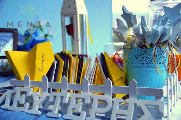 Handmade stars for girls and paper planes for boys. By MENTA. https://www.facebook.com/mentaweddings