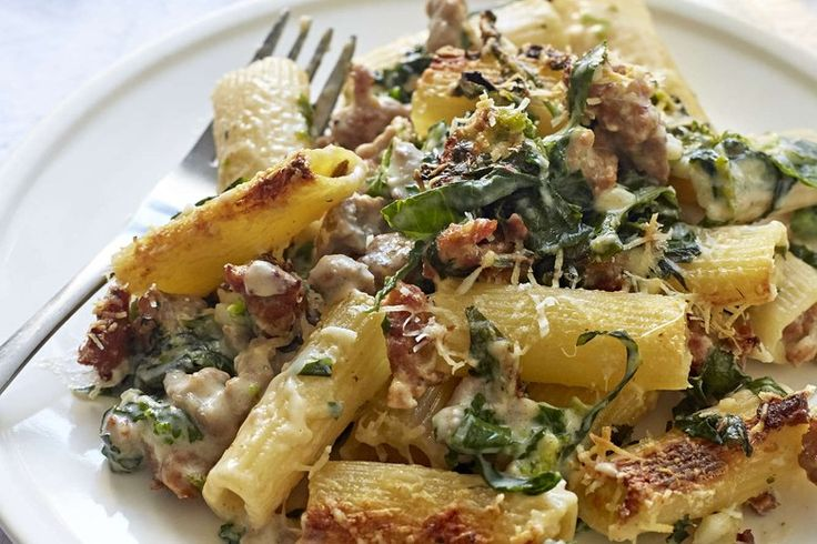 Rigatoni with Greens, Spicy Sausage, and Garlic Cream recipe