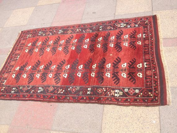 "VİNTAGE Handmade Turkish Tribal Bergama Carpet Rug Wool on Wool Old Carpet Rug İnches 39,3"" x 62,9"" (100cm x160cm)"