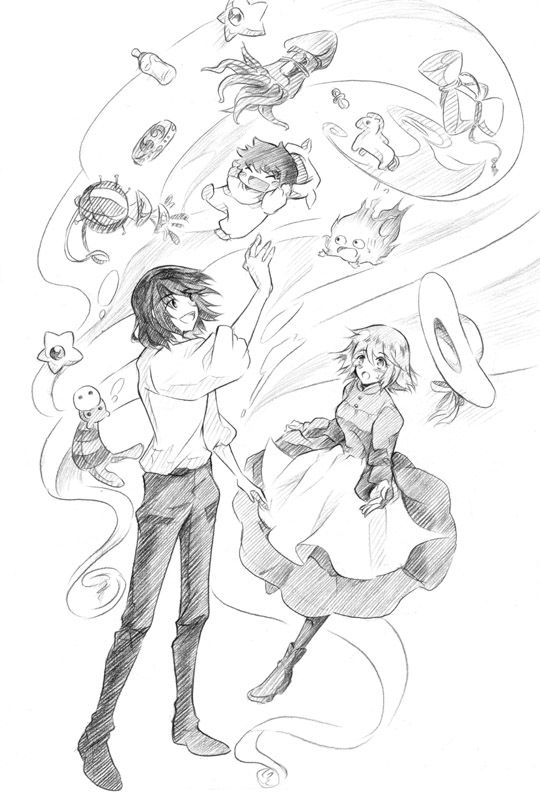 Howl, Sophie, Calcifer, and the baby