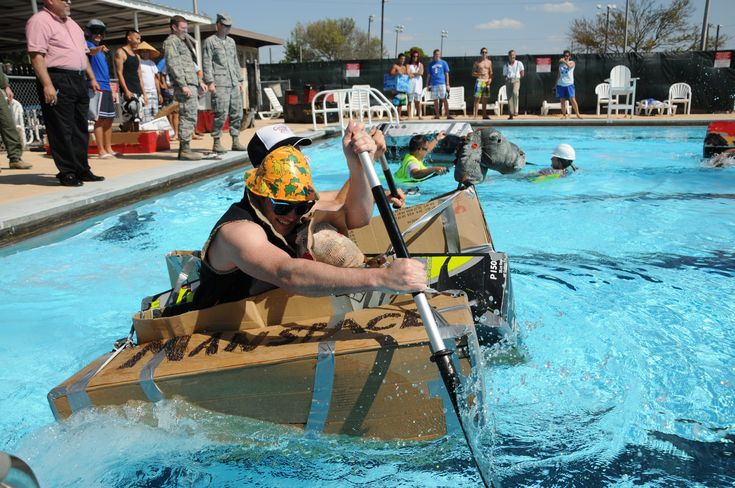 cardboard boat race   swimming pool games for adults   games to play in the pool