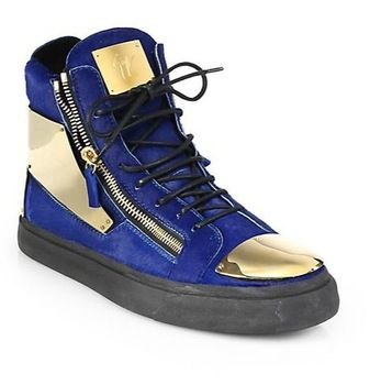 drop shipping original logo gz women men high top sneakers blue suede  giuseppe casual shoes plus
