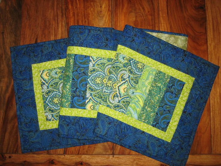 Summer Table Runner Quilted Table Runner Blue Green