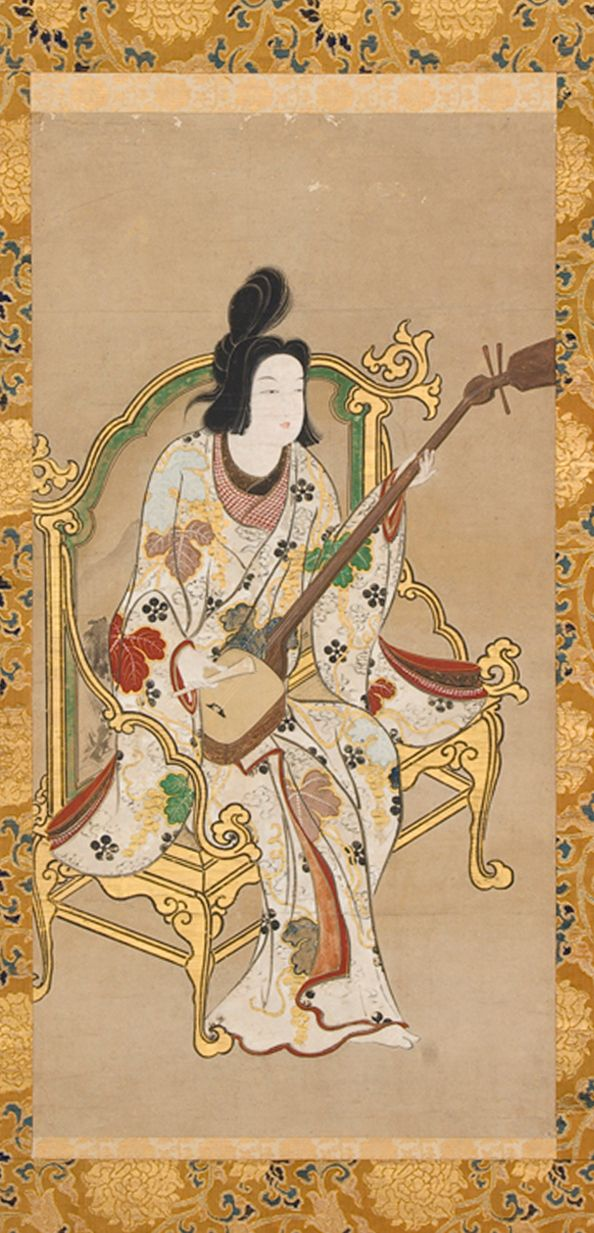 Anonymous, Woman Playing a Shamisen Japan, Edo period (1615–1868), 1661–1672 Hanging scroll ; ink, color and gold on paper