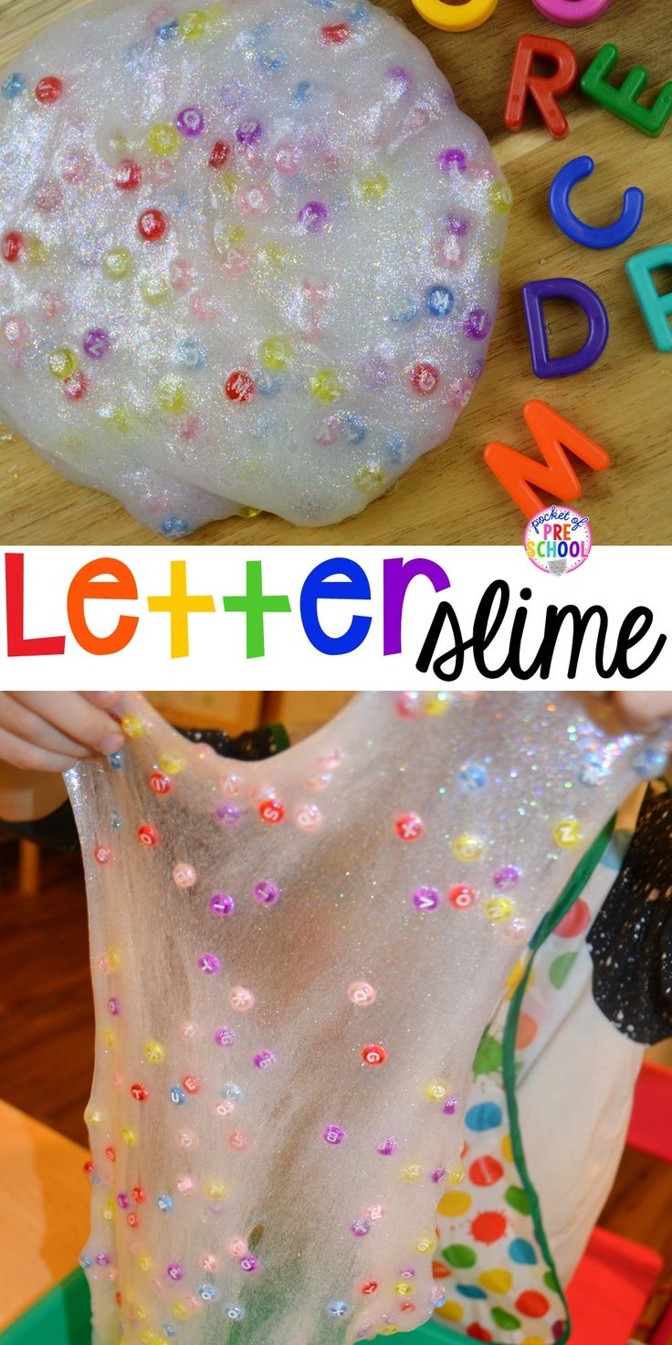 Letter SLIME - Find letters,hide letters, make names, make sight words, and talk about letter sounds. Perfect for preschool, pre-k, and kindergarten.