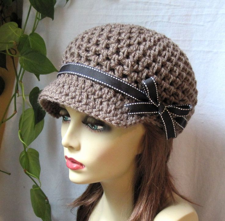 Womens Hat, Taupe Newsboy