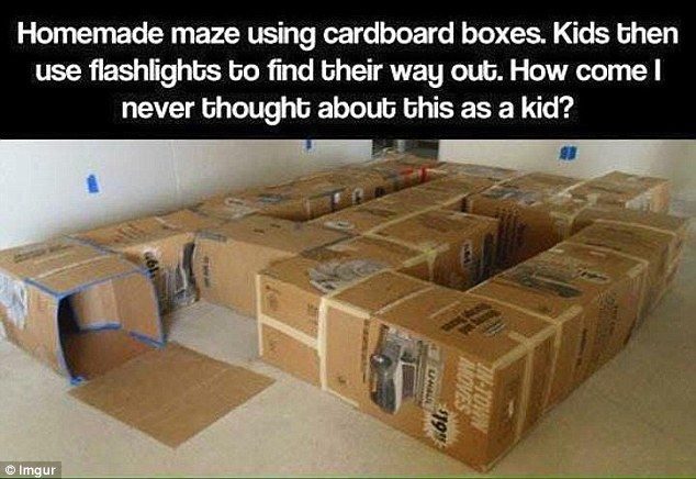 Empty cardboard boxes can have all sorts of uses when it comes to keeping your children entertained, including making a tunnel maze