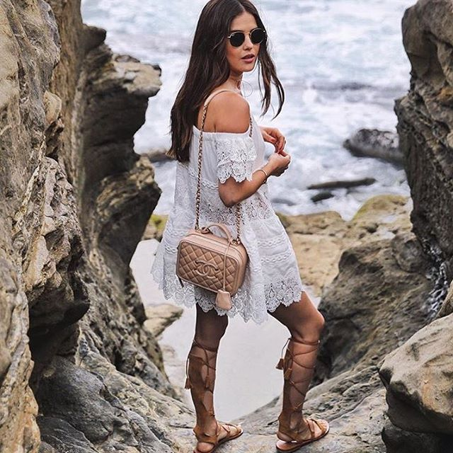 Gladiator #fashion #style #fashionista #vacation #beach #outfitoftheday #lwd #white #dress #accesory #shoe #gladiatorsandals #shoeporn #sunglasses #handbag #tgif #weekend #summer #chanel #cool #chic #posh #stylish #glam #fun #trend #inspiration