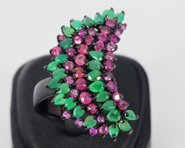 51ct Size 8 Ruby & Emerald Sterling Silver 925 Ring