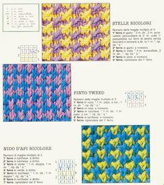 Punti/tecniche: bicolori-jacquard-intarsio-entrelac-ricamo su maglia