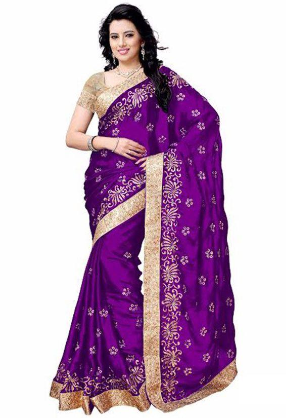 Magenta Satin Silk Saree