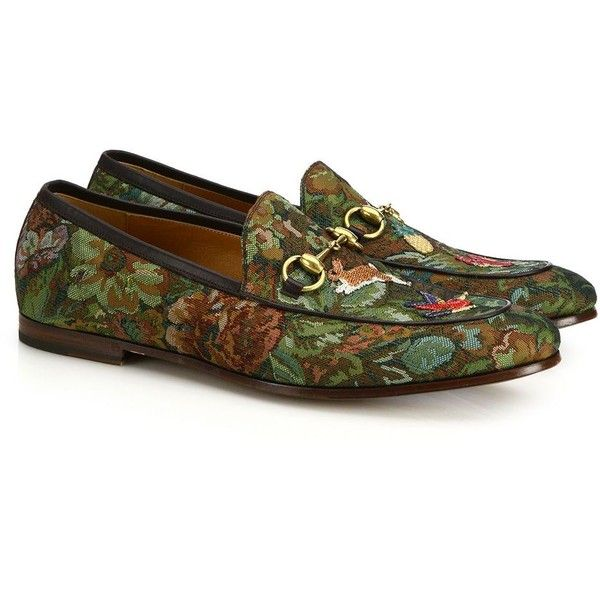 Gucci New Jordann Floral-Printed Leather Loafers ($760) ❤ liked on Polyvore featuring men's fashion, men's shoes, men's loafers, apparel & accessories, brown multi, mens slipon shoes, mens leather sole shoes, mens brown slip on shoes, mens floral shoes and mens leather loafer shoes