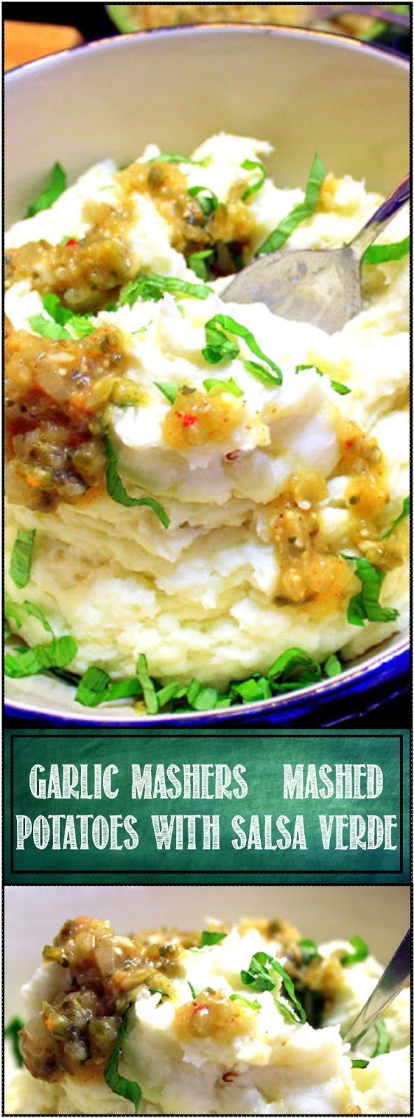Garlic Mashers (Mashed Potatoes) with Salsa Verde - 52 Holiday Side DIshes... THIS IS MY NEW OBSESSION. The BEST Mashed potatoes ever and too good to just make for company. The post contains a recipe for garlic Mashed Potatoes PLUS a recipe for a tangy slightly sweet rustic tasting Salsa verde that combines with the potatoes to make something special. Dare I say WORLDS BEST... You bet!