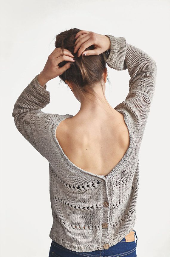 Hand Knit Open Back Sweater Spring Cotton Cardigan Oversized Cardigan