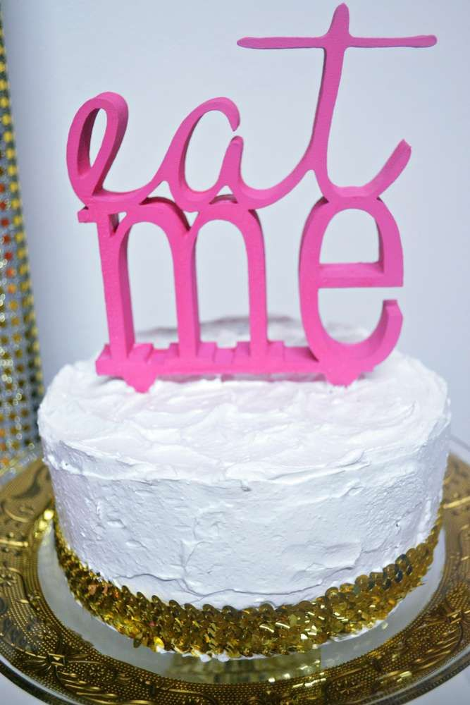 Girls glitter party cake!  See more party planning ideas at CatchMyParty.com!