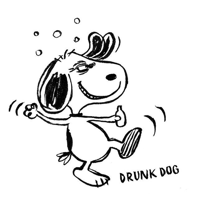 DAY 4 of Karo Rigaud's 2016 illustrated Advent Calendar: the Drunk Dog! #blackandwhite #artoftheday #drawing #abc #abecedaire #advent #calendar #adventkalender #christmas #creative #snoopy #drunk #dog #drunkdog