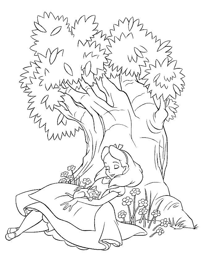 coloring page alice in wonderland - Drawing For Kids To Color