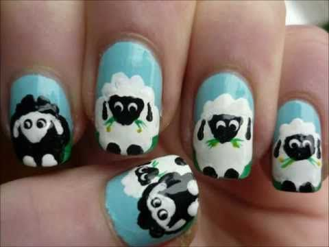 An adorable sheep nail tutorial! Subscribe to me on youtube- Juliatmll for more tutorials!