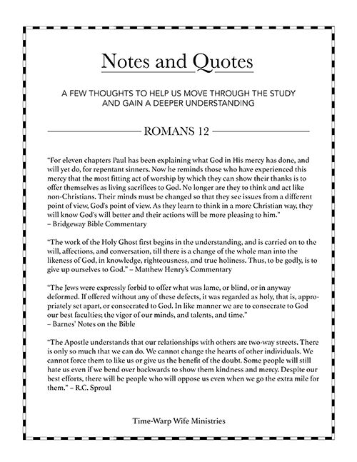 Romans Bible Study – Week 4 – Part 1 – Printable Resources - Time-Warp Wife