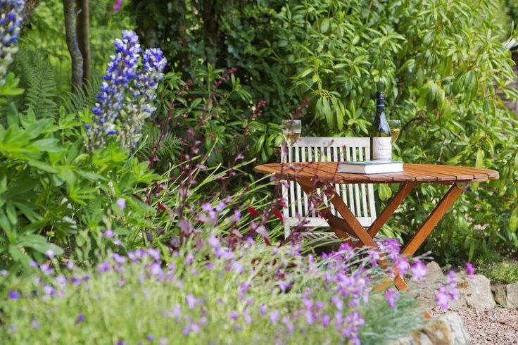 Enjoying the lupins with a good book and glass of wine. We love them just as much as the bees!