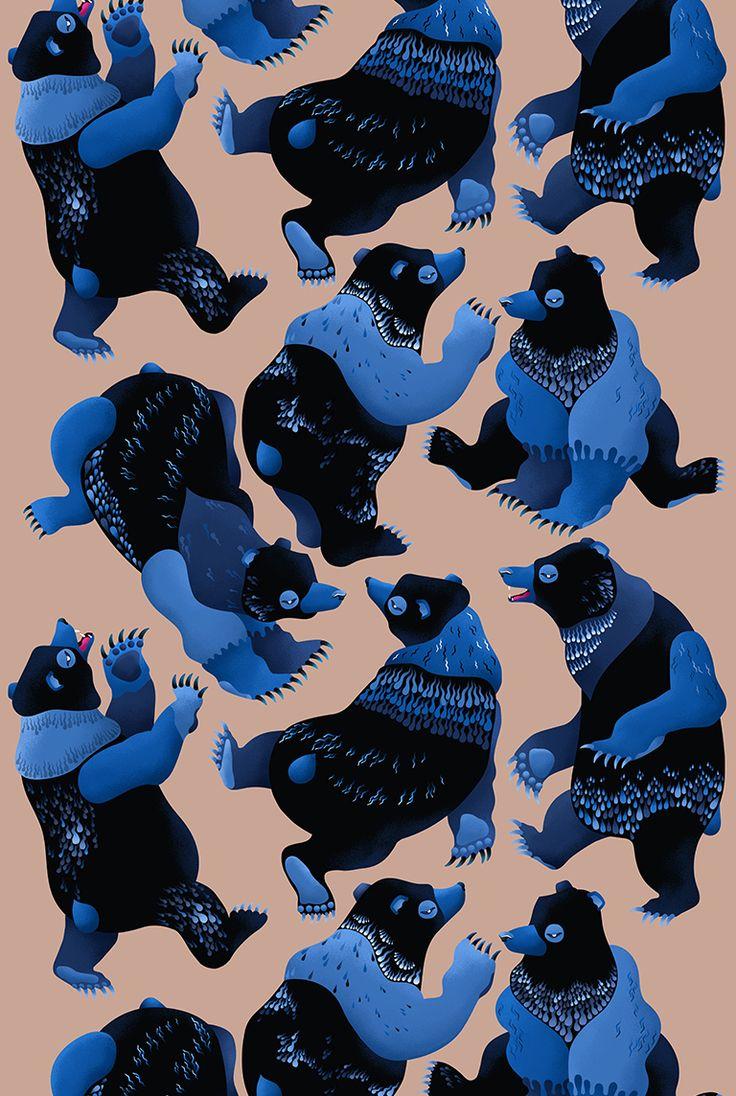 """""""Dancing Bears"""" pattern design by Riku Ounaslehto, 2016"""