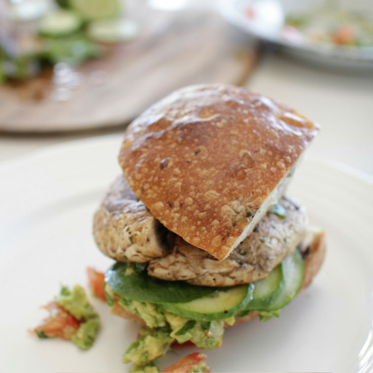 Portobello Mushroom & Avocado Burgers. Click Visit for the recipe on our blog.