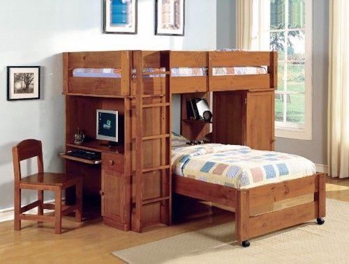 Workstation Loft Bed Twin Furniture Storage Cabinet Desk Drawer Oak Ladder  Wood