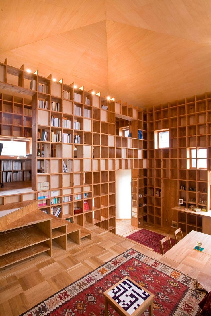 a house of bookshelves